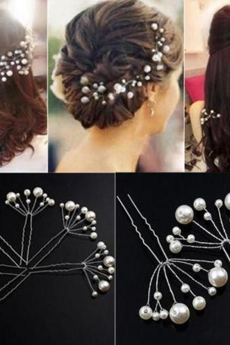 6 Pieces New Bridal Hair Accessories Flowers Beads Bride Hair Pearl Pins