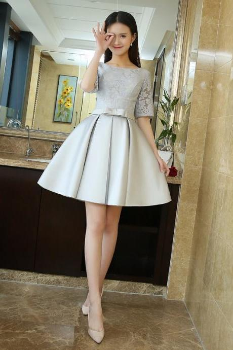 Mini Satin Lace Prom Dress Customized Fashion O-Neck Bow Party Gown Dresses With Half Sleeves