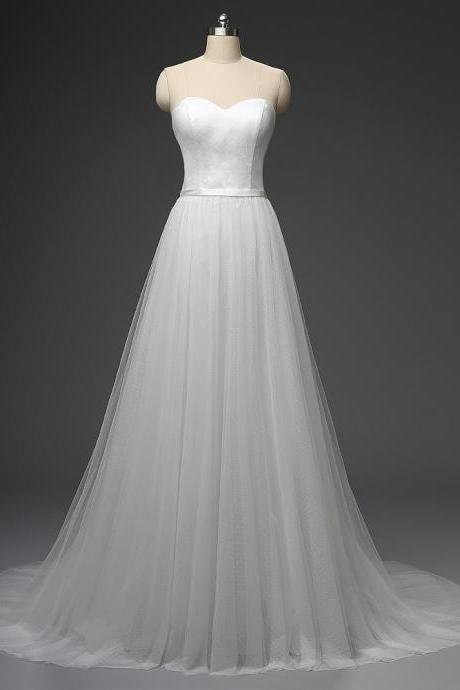 Simple Wedding Dress Dots Tulle A-line Bridal Dresses Cheap Floor Length Wedding Gown